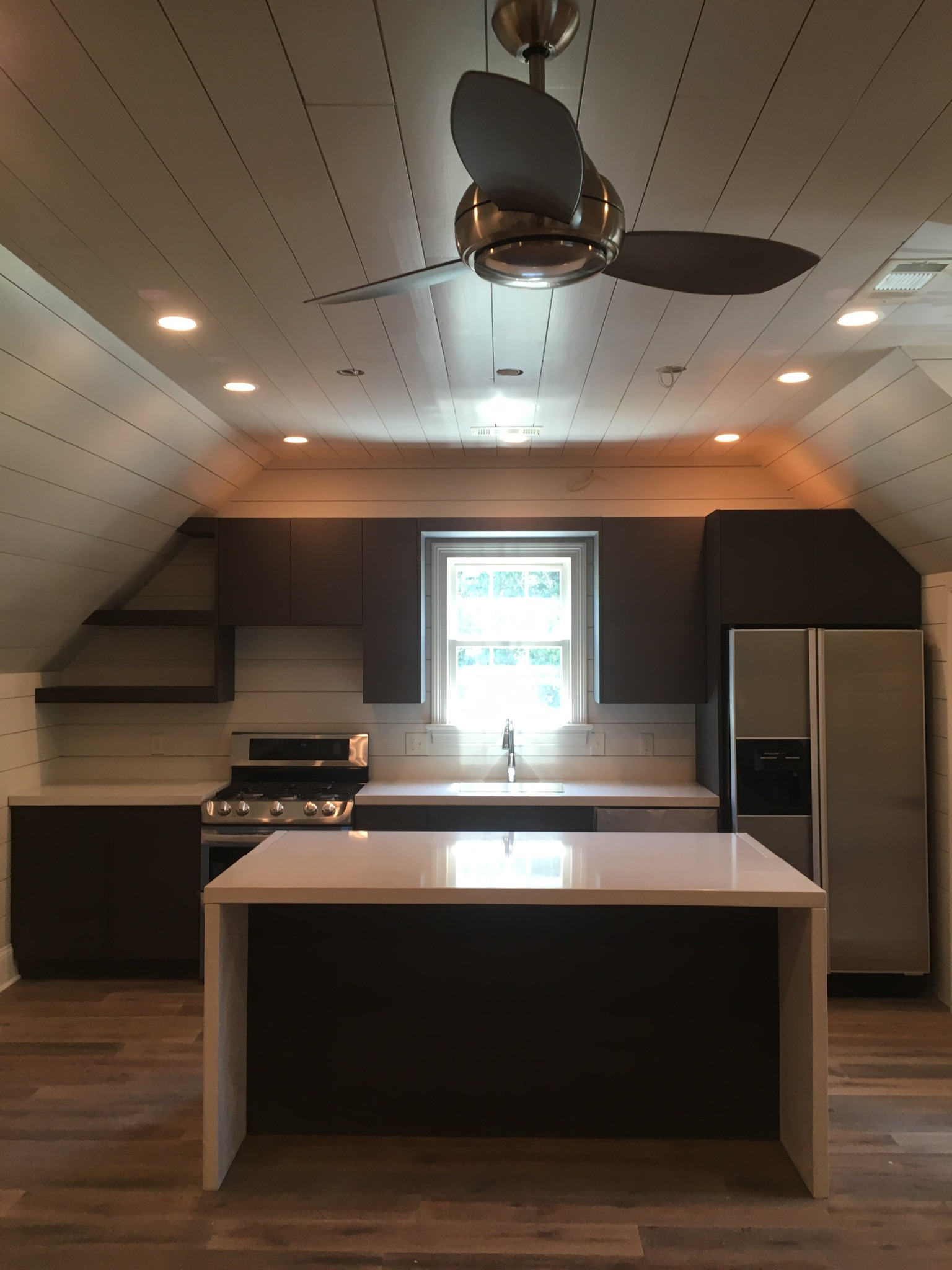 white countertops/island