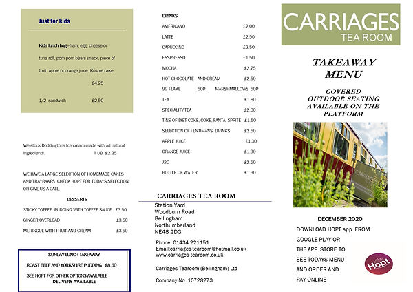 Carriages takeaway menu  december 2020 f