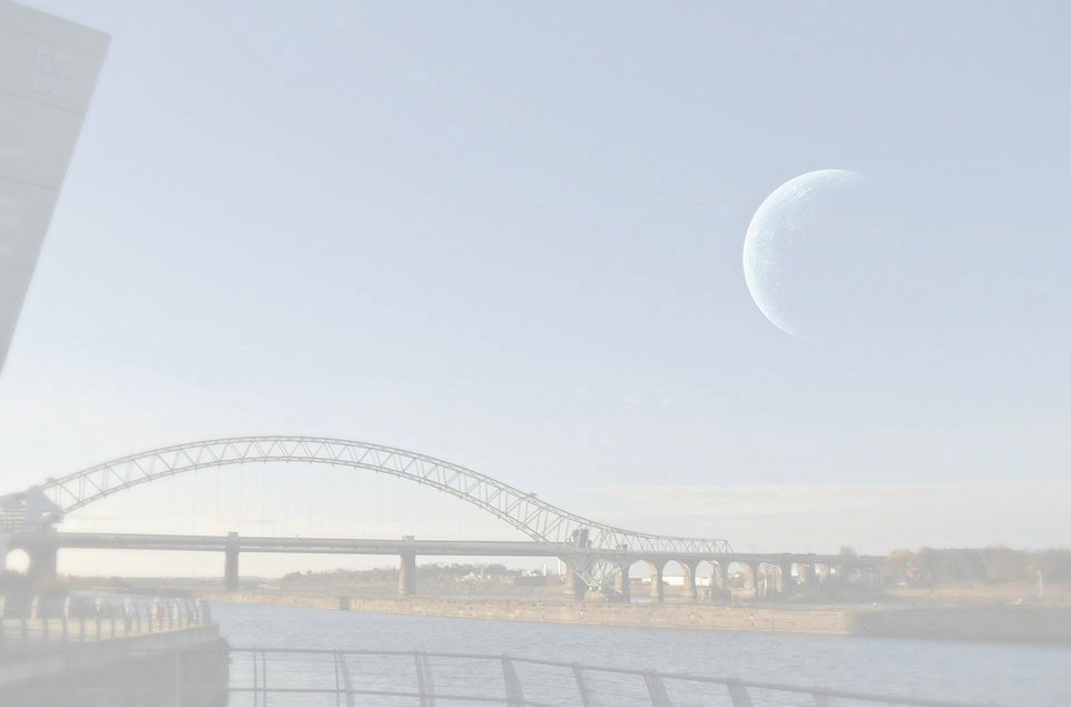 A large blue planet is seen in the sky over the River Mersey in Runcorn England