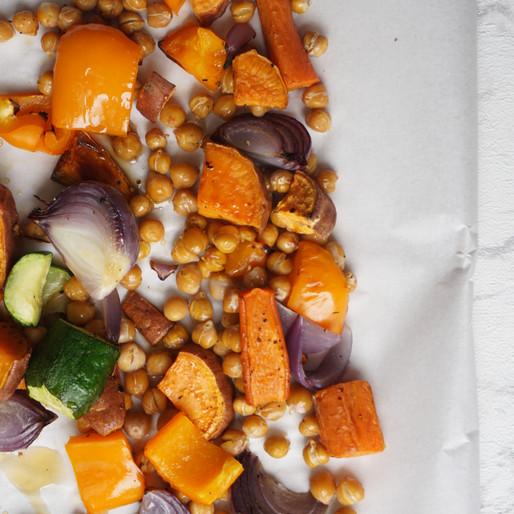 Einfaches Ofengemüse (vegan, glutenfrei, ohne raffinierten Zucker)