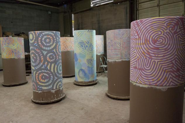 Seven pipes in progress.