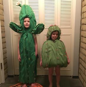 Saguaro Cactus and Barrel Cactus Halloween costumes