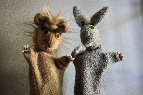 Lion and bunny hand puppets