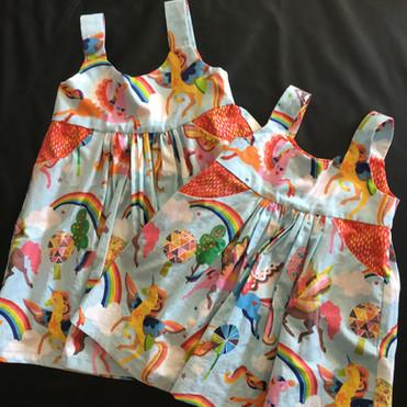 Rainbow unicorn dresses