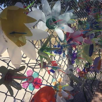 Plastic bottle flower garden