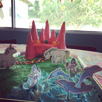 Fifth Birthday Cake with Castle and Mermaid Dolphin Lake