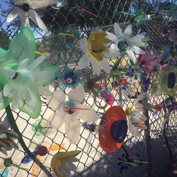 Plastic bottle flower fence
