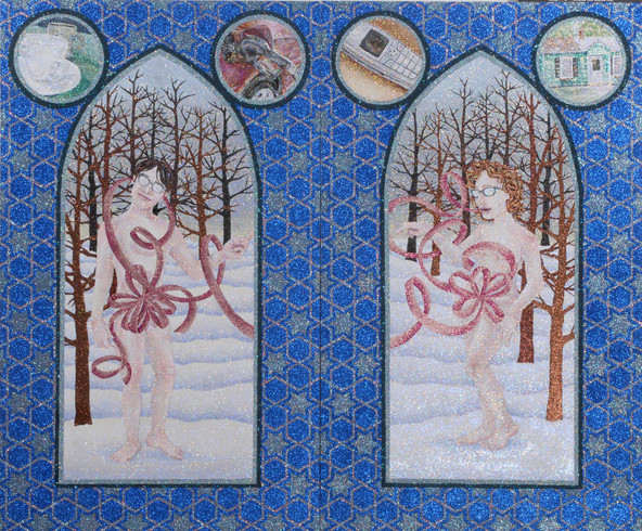 Diptych Glitter and glue on two panels