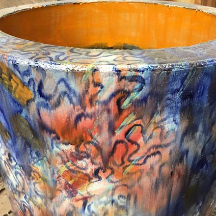 Detail of glaze run.
