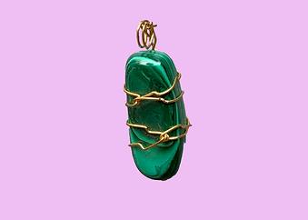 Malachite Pendant Gold-Wrapped