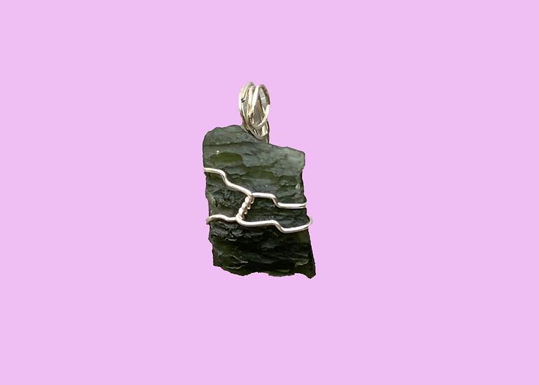 Moldavite Silver-Wrapped