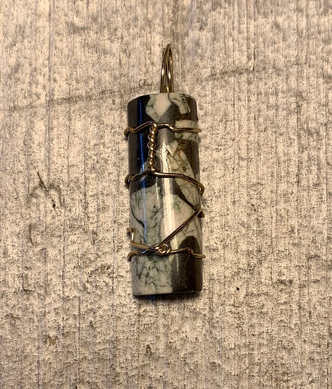 Chinese Writing Stone Pendant Silver-Wrapped