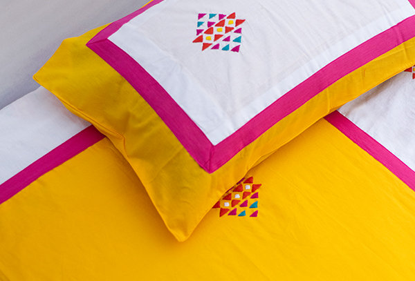 Embroidered Patch Bed Sheet