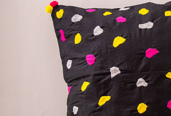 Abstract dot embroidery cushion cover