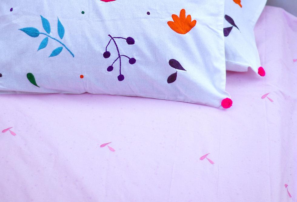 Embroidered summer love bed sheet set