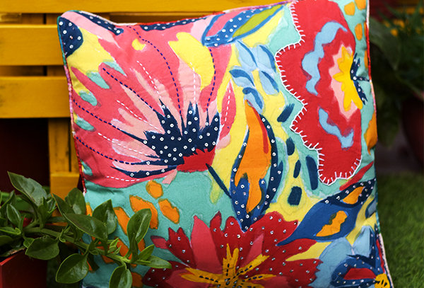 Hand painted cushion cover with sequin work