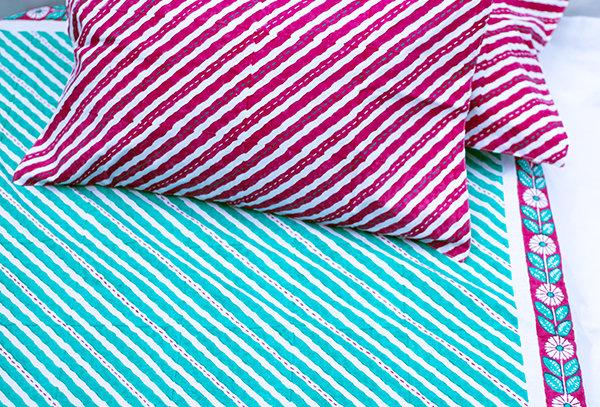 Hand Block Printed Kantha Bed sheet