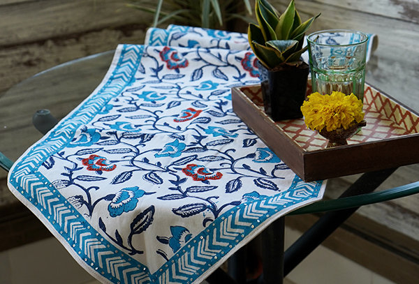 Floral Hand Embroidered Table Linen