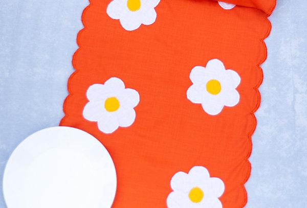 Flower appliqué table runner