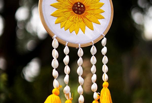 Sunflower embroidered dream catcher