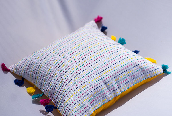 Hand embroidered kantha cushion cover with Tassels