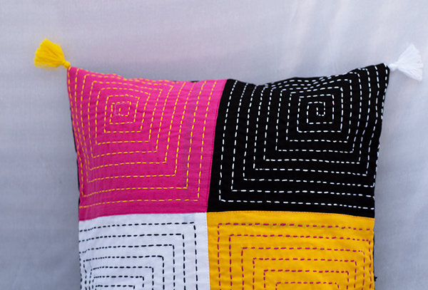 Kantha embroidered patch cushion cover