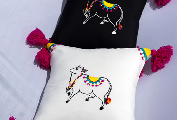 Hand embroidered Cow cushion cover