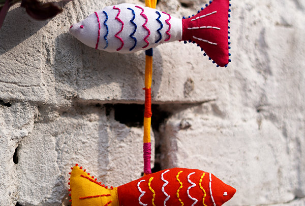 Fish embroidered wall hanging