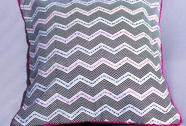 Kantha sequin cushion cover