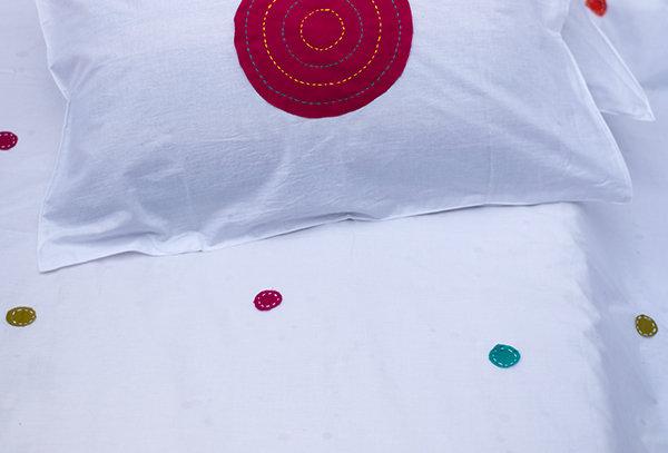 Polka hand embroidered patch work bedsheet set