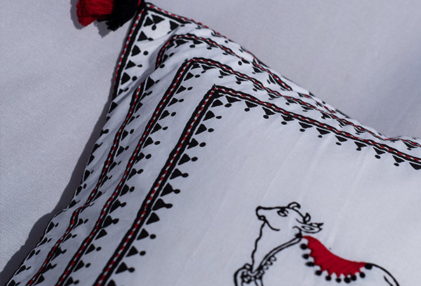 Ethnic cow cushion cover