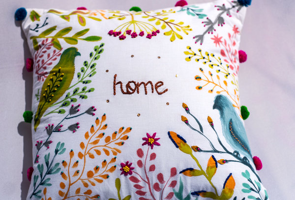 Hand painted garden cushion cover