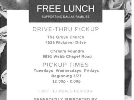 Free Lunch Sponsored By : Highland Park United Methodist Church