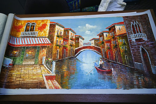 Un-stretched oil painting on canvas 24''x48''