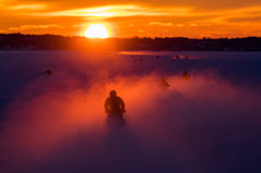 Crossing the Ice Bridge at Sundown (Sara Wright)