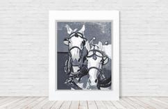 Two Horse Team in Monochrome (Natalia Wohletz)
