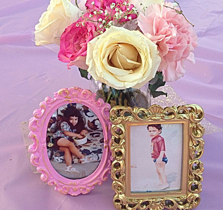 baby shower centerpiece, pink an gold