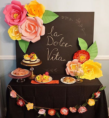 dessert table 50 and fabulous, paper flowers