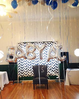 backdrop, baby shower, giant letter balloons