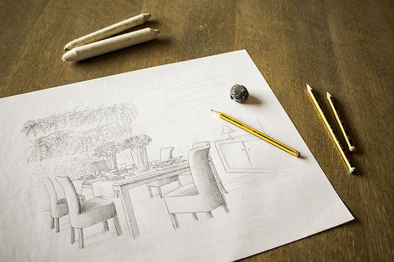 Wohnzimmer Skizze