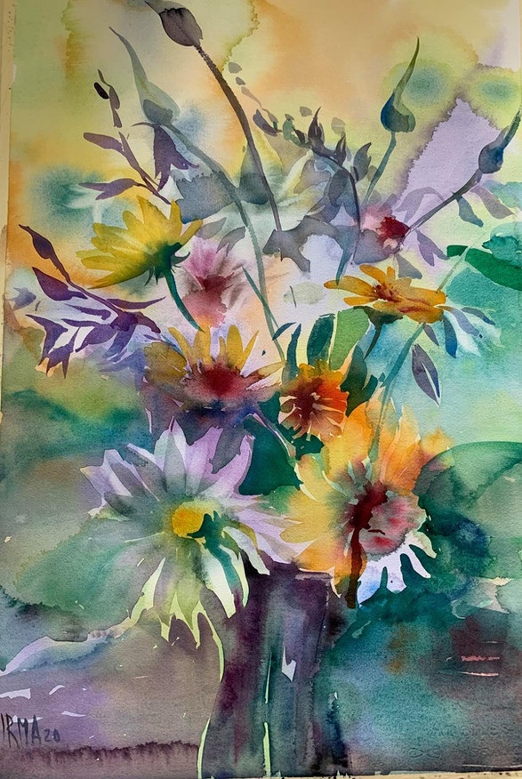 Flowers in Dusetos. Watercolour 40 x 30 cm.Orginal sold. Prints not available