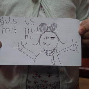This is one of the best portraits of me!  Made by my daughter, when she was 5.
