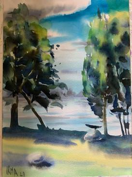 Dusetos. Watercolour 20 x 30 cm.Orginal sold.. Prints not available