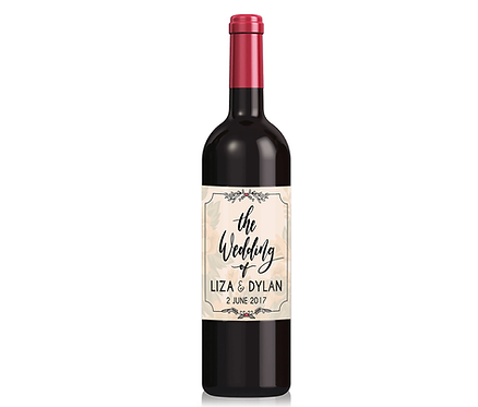 Personalised Wedding Wine Label with any name and date