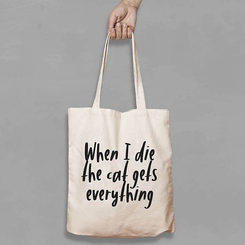 Shopping canvas Tote Bag with Quote - Cat Gets everything