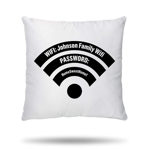 Personalised Cushion Cover Wifi Name and Password House Warming Gift