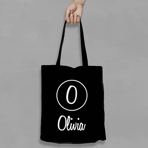 Personalised Shopping canvas Tote Bag Initial with any Name