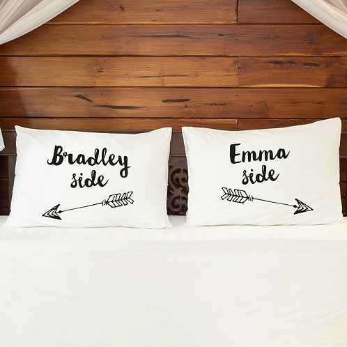 Personalised Pillowcase Pair for Couples My Side Arrow