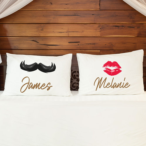 Personalised Pillowcase Pair for Couples Moustache and Lips