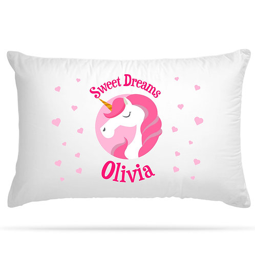 Personalised Pillowcase Kids Unicorn for Kids with 6 Colour Option